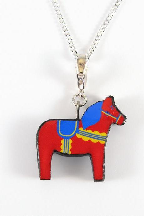 Red, Yellow, and Blue Dala Horse Pendant and Necklace