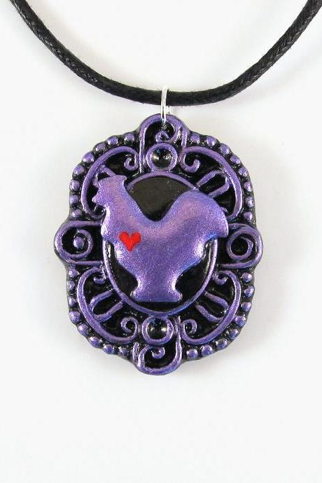 Metallic Purple Roster Cameo Pendant and Black Cord Necklace