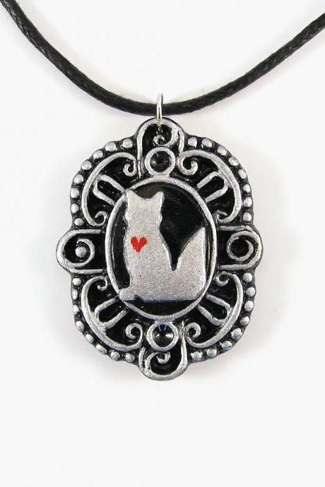 Silver Fox Cameo Pendant and Black Cord Necklace