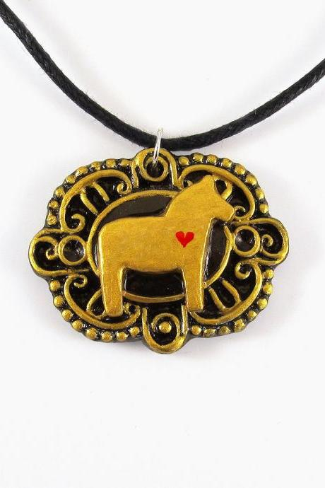 Gold Dala Horse Cameo Pendant and Black Cord Necklace