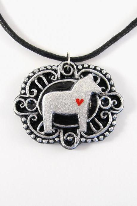 Silver Dala Horse Cameo Pendant and Black Cord Necklace