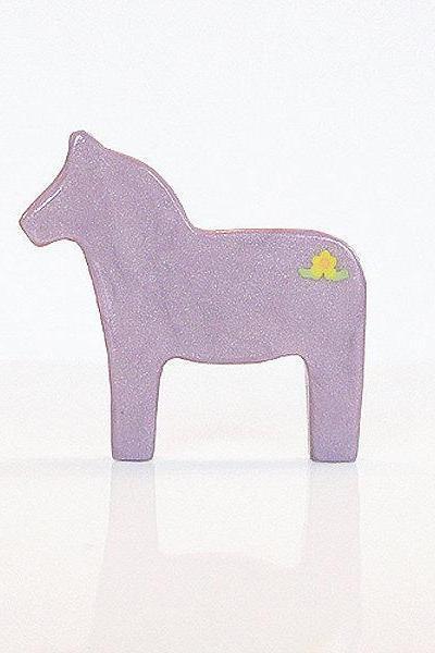 Purple Lilac Dala Horse Figurine with Flowers