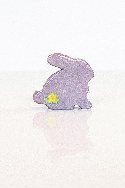 Purple Lilac Bunny Figurine with Flowers