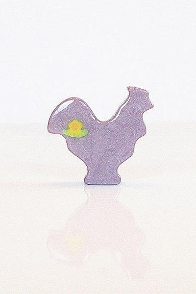 Purple Lilac Rooster Figurine with Flowers
