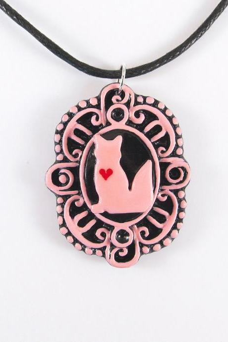 Pink Fox with Heart Cameo Pendant and Black Cord Necklace