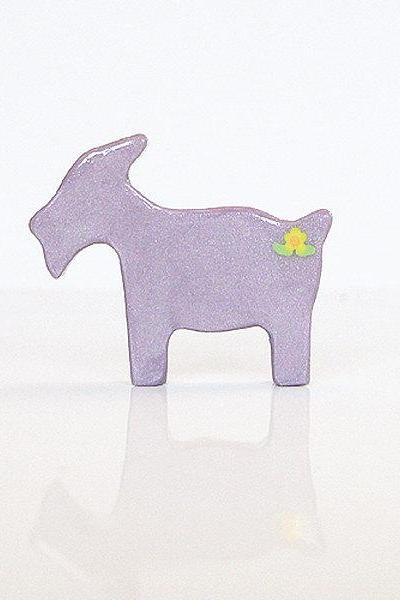 Purple Lilac Goat Figurine with Flowers
