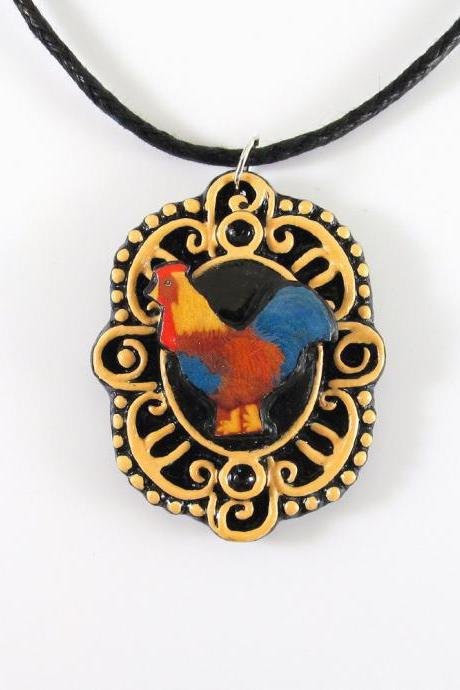 Rooster Cameo Pendant and Black Cord Necklace