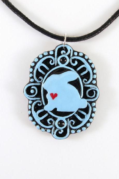 Blue Bunny with Heart Cameo Pendant and Black Cord Necklace