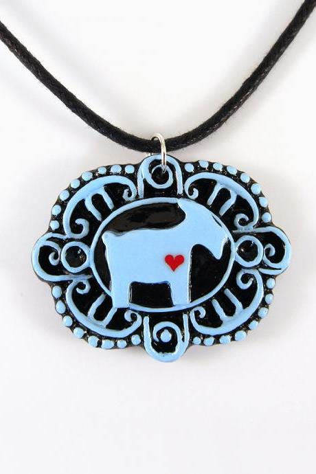 Blue Goat with Heart Cameo Pendant and Black Cord Necklace