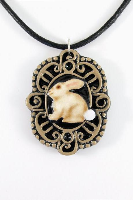 Bunny Cameo Pendant and Black Cord Necklace