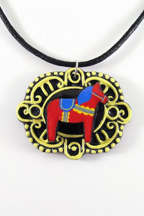 Red and Yellow Dala Horse Cameo Pendant with Black Cord Necklace