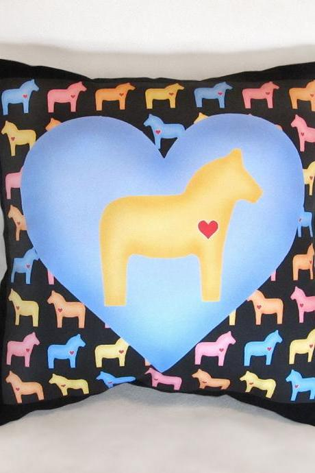 Pastel Yellow Dala Horse Multi-Color 15 x 15 in. Stuffed Decorative Throw Pillow