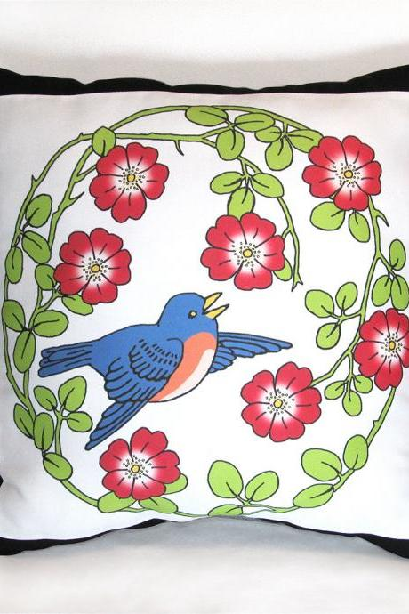 Flying Bluebird in a Wild Rose Wreath 15 x 15 in. Stuffed Decorative Throw Pillow