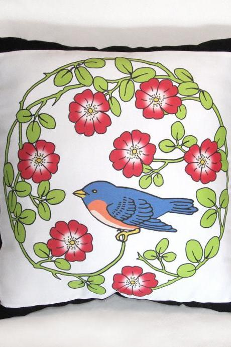 Bluebird Sitting in a Wild Rose Wreath 15 x 15 in. Stuffed Decorative Throw Pillow