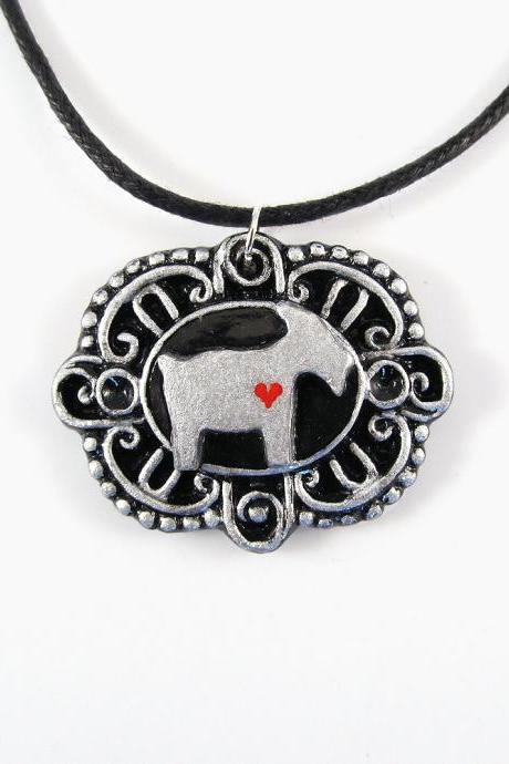 Silver Goat Cameo Pendant and Black Cord Necklace