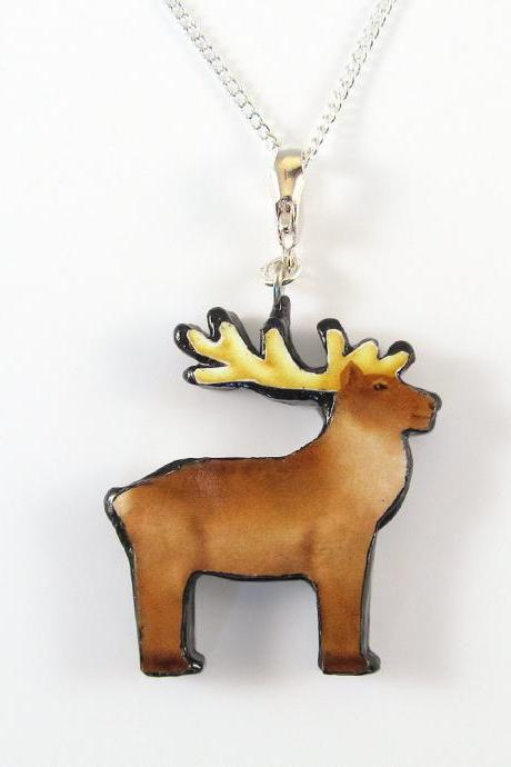 Reindeer Pendant and Necklace