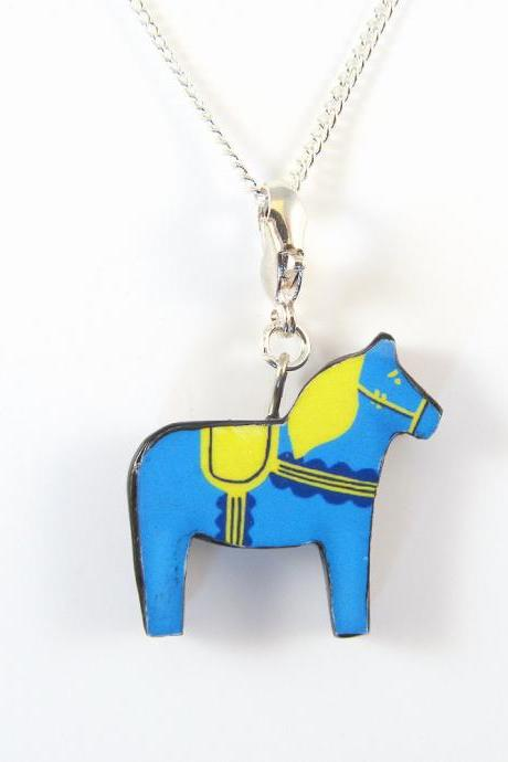 Blue and Yellow Dala Horse Pendant and Necklace