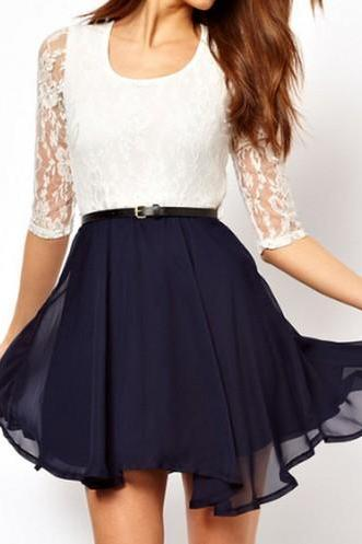 Constrast Dress With Lace Detail