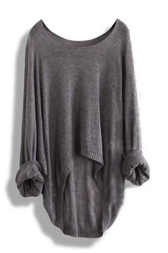 Hot sale Gray Loose Batwing Sleeve Irregular Sweater for women