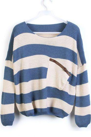 Loose Blue Striped Sweater With Pocket