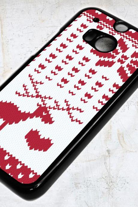 HTC ONE M8 Red Christmas Knit with Deer, Heart and Snowflakes Case