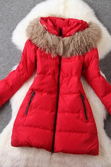Fashion sheep with thick long curly coat down jacket AE1204BI