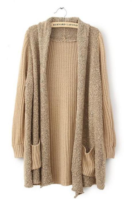 Loose Plush Knit Cardigan Sweater GF10BF