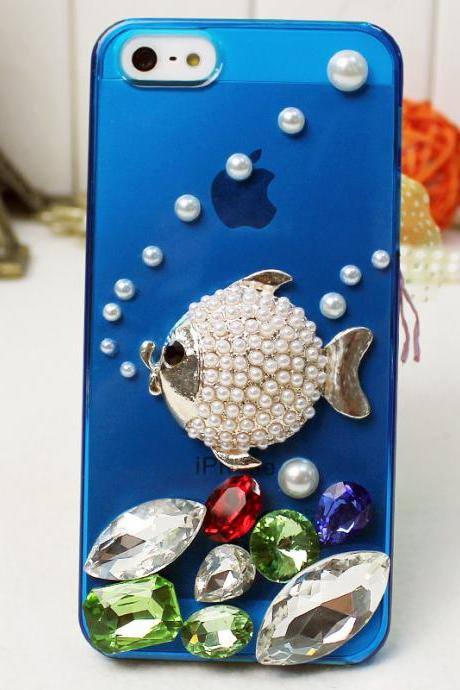 Fish iphone case,transparent blue iphone caseDiamond Iphone 5 case ,bling iphone5 case ,High quality phone case .rhinestone crystal iphone case