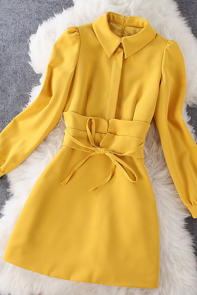 Women's new fashion style yellow mosaic long sleeved doll collar dress