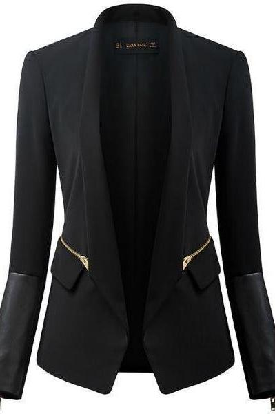 Black Fitted Blazer with Faux Leather Cuffs and Zipper