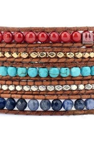 Beaded Wrap - Coral Turquoise Jade Gold Beads 5X Wrap Multi Color Bracelet - Artisan Handmade Boho; Holiday Wrap