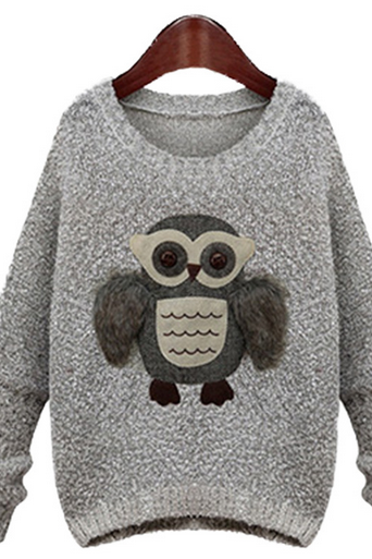 New women's European and American street style owl female sleeve head sweater sweater