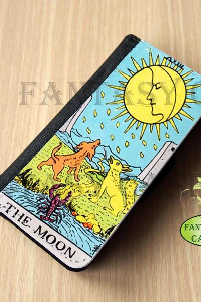 The Moon Tarot Card - iPhone 5 Wallet Case, Leather iphone 5s case, iPhone 6 Wallet Case, Leather iPhone 6 Case, Flip Case