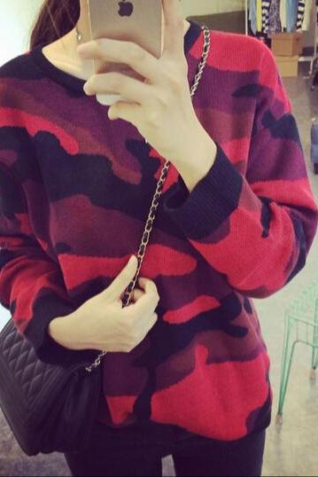Leisure hit color round neck sweater coat SF120706JL