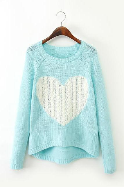 Sweet Cute Long Sleeve Round Neck Love Heart Patter Casual Women Fashion Knitted Jumper Pullover Sweater as Christmas Sale Gift One Size