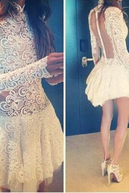 Slim Lace Long-sleeved Dress #102821AD