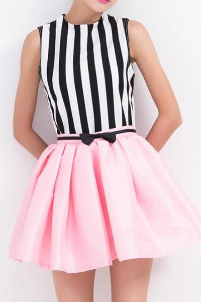 Stripes Printed Top And Skirt Set 063046