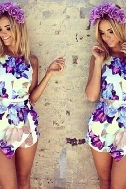 Sexy Colorful Flower Cute Jumpsuit