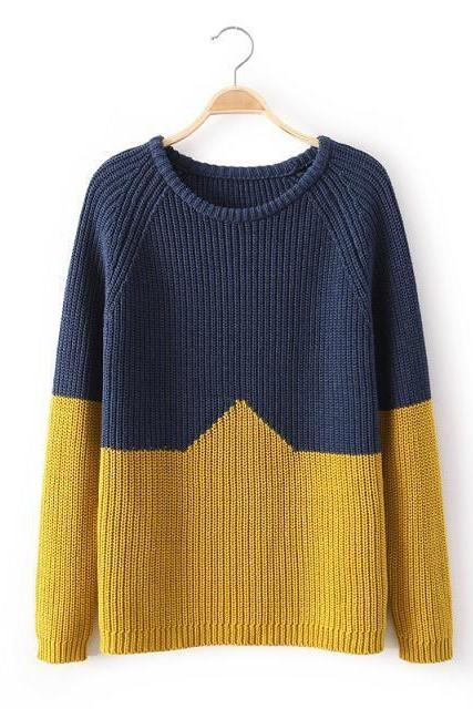 New Autumn 2014 Woman's Sweater European-Style Fashion Contast Color Long Sleeve Render Sweater Knitted Pullovers Sweater