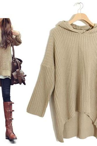 Thick Knitted Hooded Long Sleeved Sweater Featuring High Low Hem