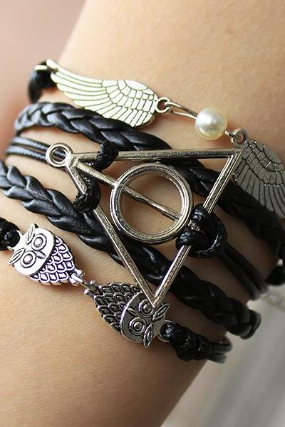 Harry potter bracelet, Wings and owl bracelet,The death hallows bracelet,Personalized bracelet