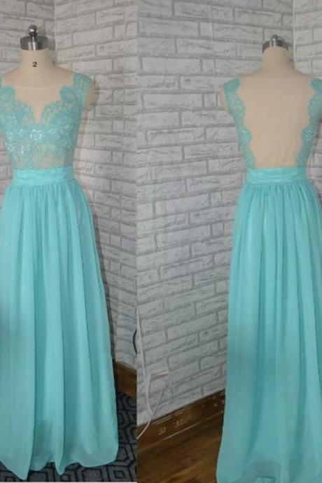 Blue Prom Dress, Backless Prom Dress,Lace Prom Dress, Taffiany Blue Prom Dress, Formal Party Dress ,elegant Prom Dress,new arrival Prom Dress,Chiffon Prom Dress