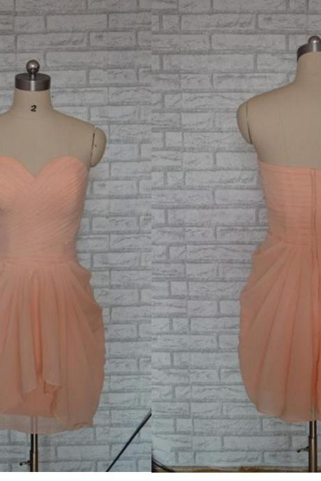 Coral Prom Dress,Short Prom Dress,Chiffon Prom Dress, Bridesmaid dress, formal short party dress ,simple prom dress.short bridesmaid dress