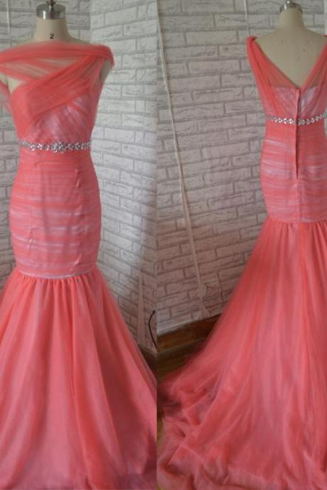 Hot Pink Prom Dress,Mermaid Prom Dress,Tulle Prom Dress,Elegant Prom dress, Long Prom Dress,fashion Prom Dress,formal party dress for prom made of tulle