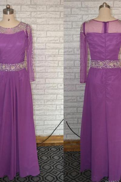 Purple Prom Dress,Long Sleeves Prom Dress,Chiffon Prom Dress, A line Elegant Prom dress, Long formal party dress ,long evening dress,purple evening dress