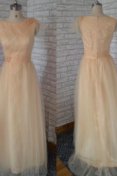 Champagne Prom dress, tulle Prom dress,Elegant Prom dress ,Long formal Prom dress ,wedding bridesmaid dress, long evening dress