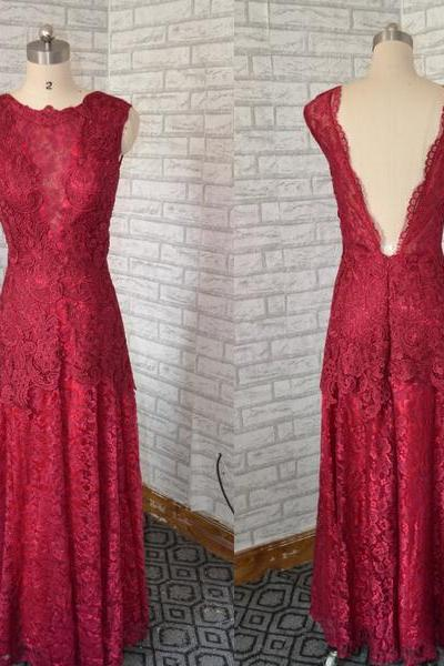 lace Prom dress,Burgundy Prom dress, long lace party dress ,evening dress backless Prom dress,fashion Prom dress,new arrival Prom dress,long lace dress