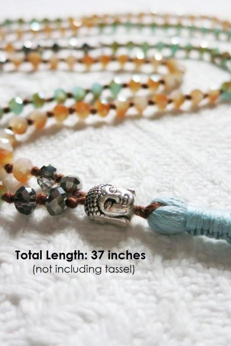 Extra Long Beaded Tassel Necklace - Half Plated Faceted Crystals w/ Buddha Head Bead; Yoga Necklace; Layering Necklace; Chan Inspired; CM48