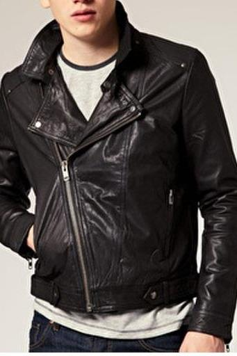 HANDMADE MENS BLACK COLOR LEATHER JACKET, MEN MOTORCYCLE GENIUNE LEATHER JACKET