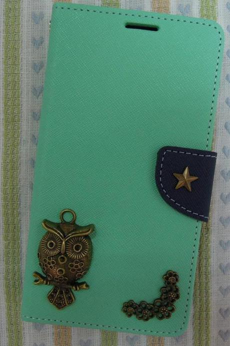 Samsung Galaxy S5 Wallet Case-OWL/Star/Plants studded Mint Samsung Galaxy S5 Wallet Case-Credit Card Holder